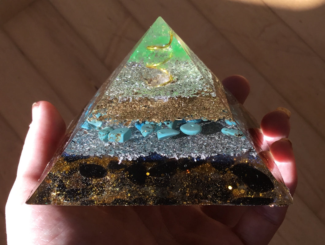 Small Green Blue Howlite Pyramid