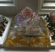 Load image into Gallery viewer, Small yellow Orgonite Pyramid