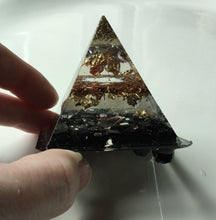 Load image into Gallery viewer, Small Tourmaline Gold Quartz Copper Aluminum Orgonite Pyramid