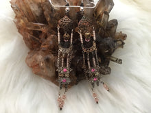 Load image into Gallery viewer, Extra long pink/silver dangle earrings