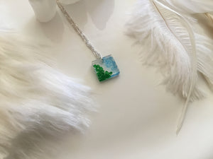 Blue/Green square charm necklace