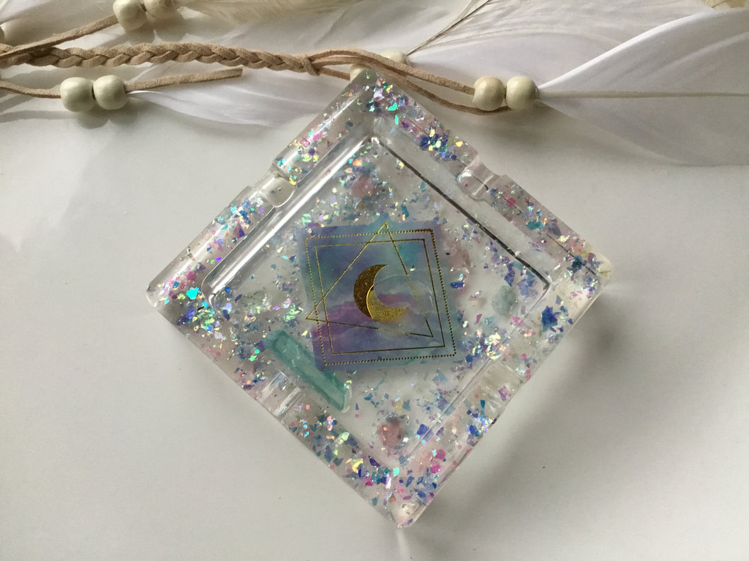 Holo moon Aura Quartz Ashtray/trinket tray