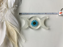 Load image into Gallery viewer, Selenite/Blue flower Triple Goddess plate