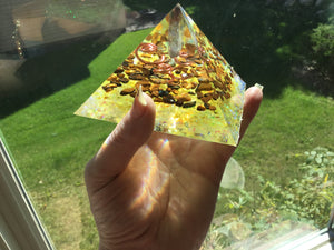 Yellow Triple Spiral Pyramid