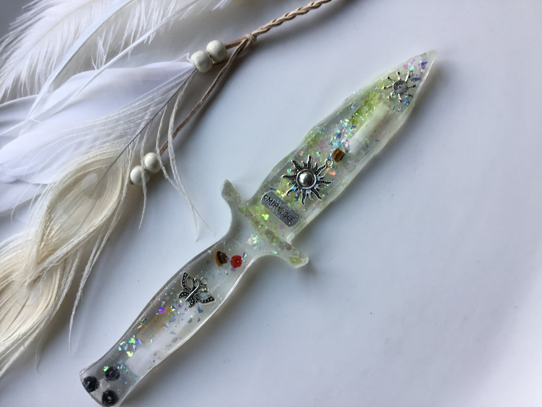 Miracle Selenite Sun Ice Dagger/Athame