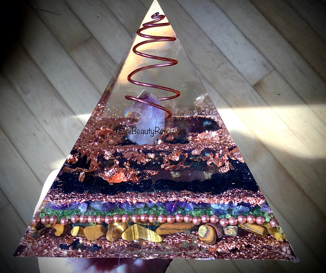 Deluxe Copper Amethyst Orgonite Pyramid
