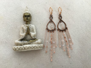 Handmade, Rose gold beaded chandelier earrings