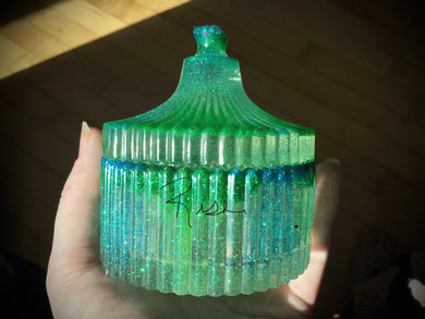 Small Green Blue Slotted jar