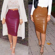 Load image into Gallery viewer, High Waist Women Pencil faux Leather Skirt