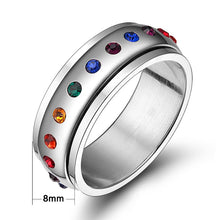 Load image into Gallery viewer, women's crystal spinner ring