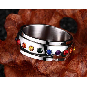 Rotating Spinner Ring for Women Rainbow Crystal Stone Stainless Steel