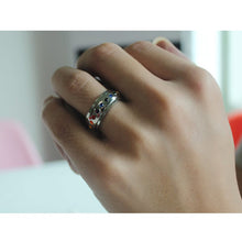 Load image into Gallery viewer, Rotating Spinner Ring for Women Rainbow Crystal Stone Stainless Steel