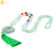 Load image into Gallery viewer, Long Maxi Tassel  7 Chakra Natural Gem Stone Mala Necklaces