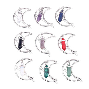 Quartz Hexa Clip Stone Pendant Hairpin, 8 Colors