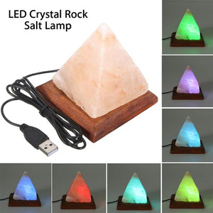 Pyramid Triangle Shaped Salt Lamp Air Purifier,Crystal Night Light, Wooden Base