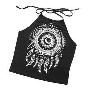 Summer Women Sleeveless Halter-neck dream catcher Tank