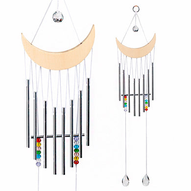 New Handmade Wood Half-Moon WindChimes With Hanging Dream Catcher