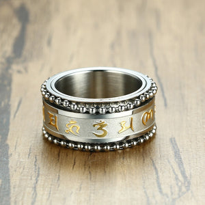 Rotatable Mantra Ring for Men 11MM Stainless Steel