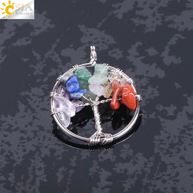 Tree of Life Necklace & Pendant Crystal Natural Gem Chip Beads