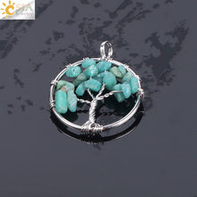 Load image into Gallery viewer, Tree of Life Necklace & Pendant Crystal Natural Gem Chip Beads