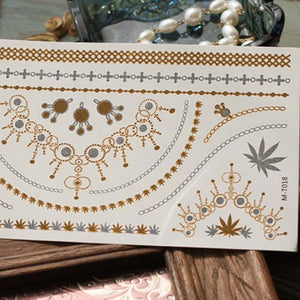 Metallic Henna Tattoos Temporary Tattoos in Gold