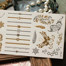 Load image into Gallery viewer, Metallic Henna Tattoos Temporary Tattoos in Gold