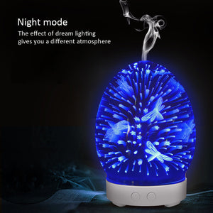 3D Glass Air Humidifier Ultrasonic Aroma Essential Oil Diffuser with Night Light
