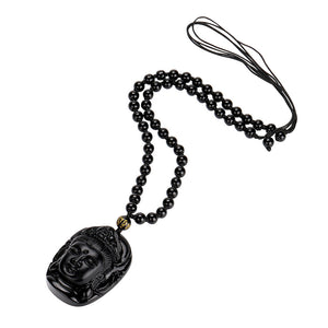 Lucky Buddha Pendant Natural Obsidian Black Carved Necklace
