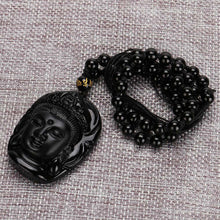 Load image into Gallery viewer, Lucky Buddha Pendant Natural Obsidian Black Carved Necklace