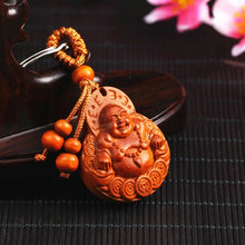 Load image into Gallery viewer, Natural Rosewood Car Key Ring Key Pendant Beautifully Lucky Buddha