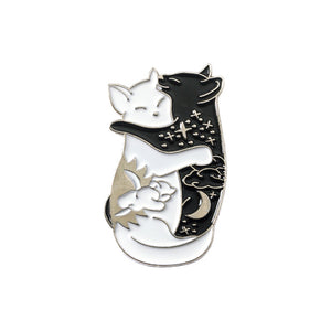 Yin-Yang Cat And Yin-Yang Fish Brooches