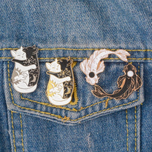 Load image into Gallery viewer, Yin-Yang Cat And Yin-Yang Fish Brooches