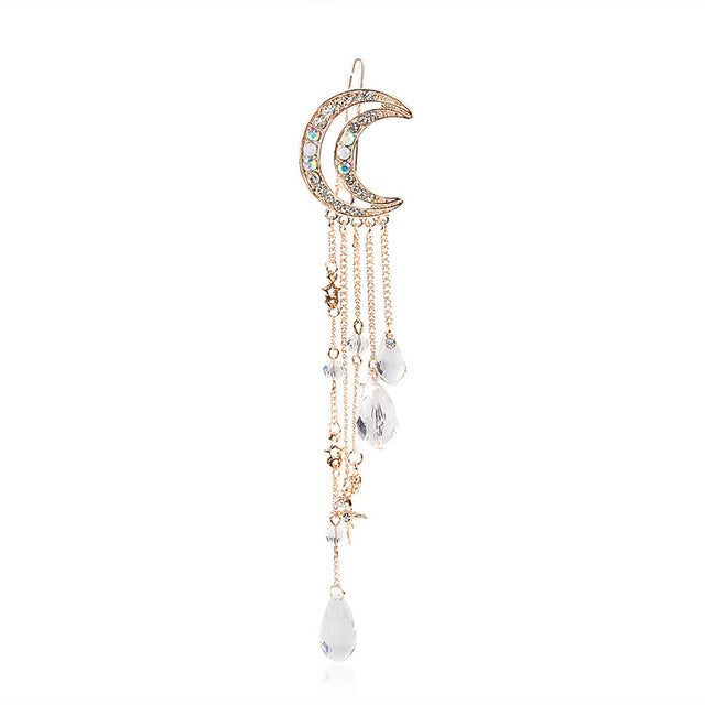 New  Charming Crystal Moon Hair Clip