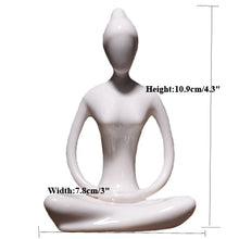 Load image into Gallery viewer, Porcelain Ceramic Yoga Pose Figurine  Lady Statue -White