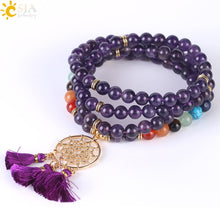 Load image into Gallery viewer, Mala Beads 8MM Natural Stone Bracelets Dream Catcher Tassel
