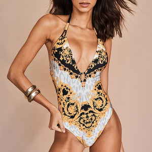 Halter print one-piece suit Deep V Push up monokini