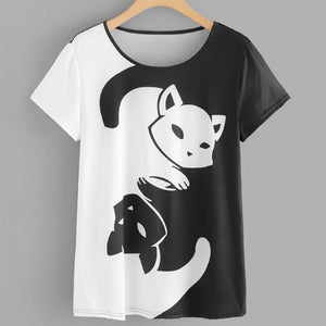 Womens Cat Printing Short Sleeve Pullover Top