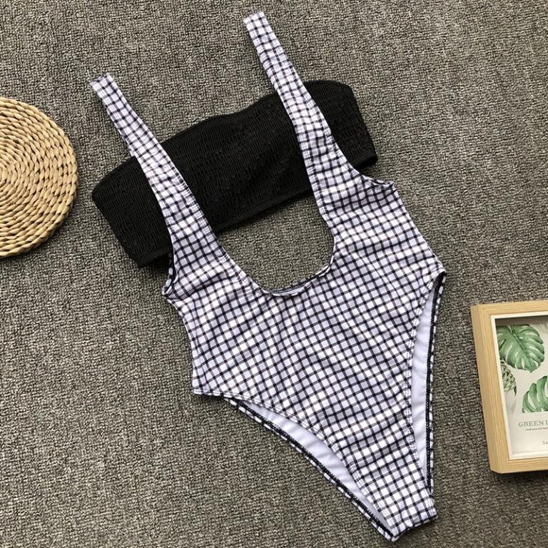 Plaid High cut one piece swimsuit