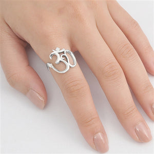 Solid 925 Sterling Silver Ring Om