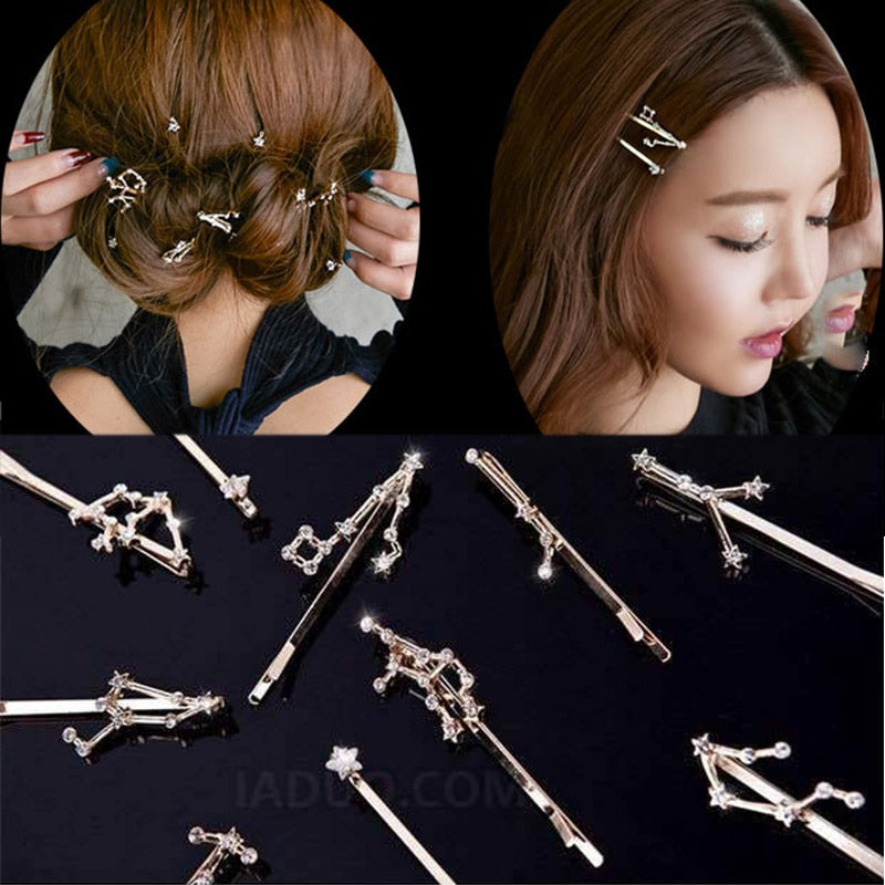 New Twelve Constellation Crystal Alloy Barrette Hairpins