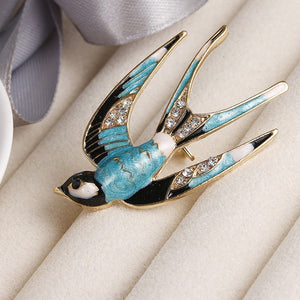 Vivid Swallow shape Enamel pin