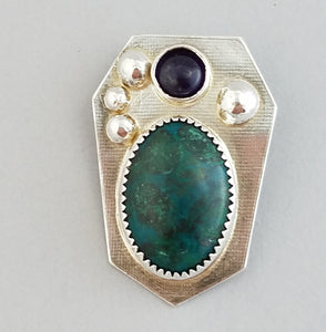 Chrysocolla with Amethyst & Sterling   (20043)