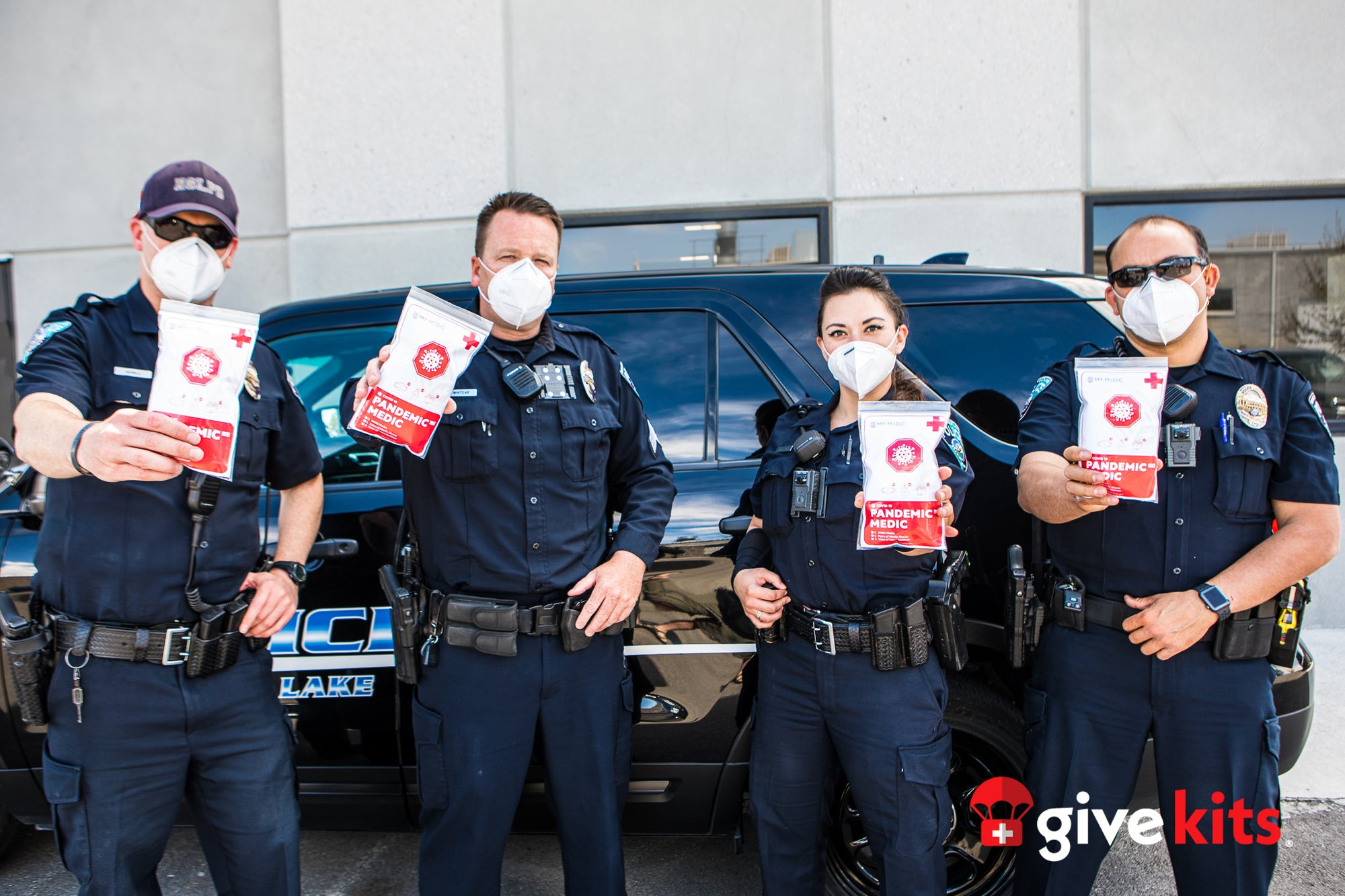 first responders receive personal protection equipment from the Give Kits Foundation