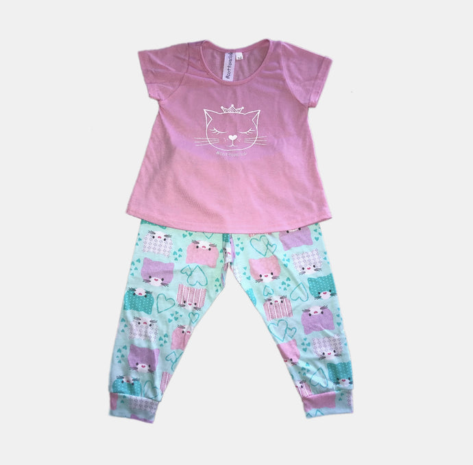 GIRLS KITTY PANTS PYJAMA SET