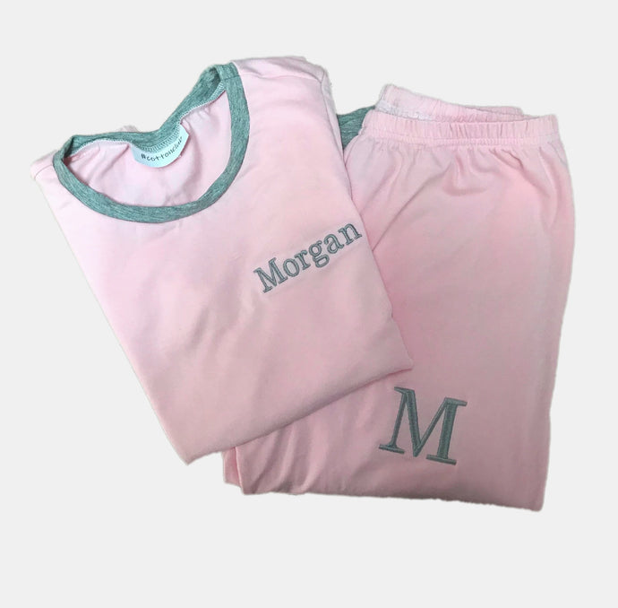 GIRLS PERSONALISED PYJAMA SET - PINK