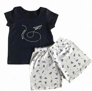 BOYS SUMMER PLANE SHORTS SET