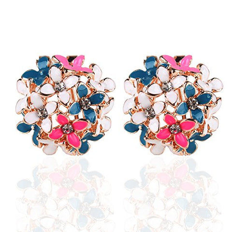 Ownsig Lady Charming Bloomy Four Leaf Clover Flowers Rhinestone Ear Stud Earrings Multicolor
