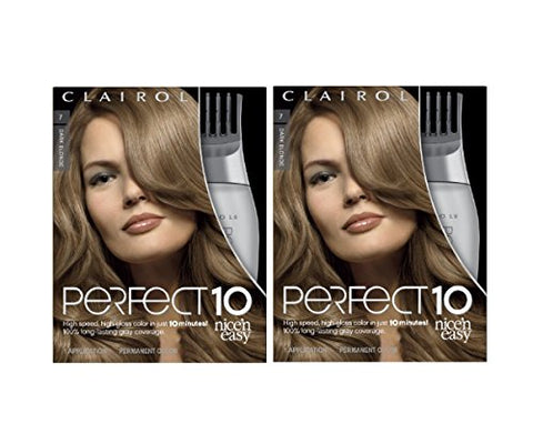 Clairol Perfect 10 By Nice 'N Easy Hair Color Kit , 007 Dark Blonde Color, Includes Comb Applicator, Lasts Up To 60 Days