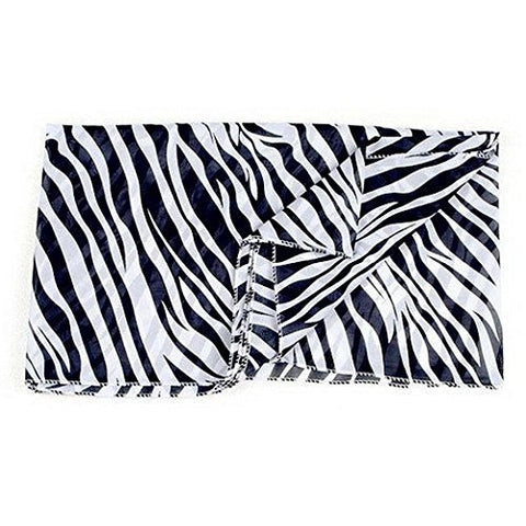 Jovanas Fashion Zebra Print Pattern Scarf Wrap Silk