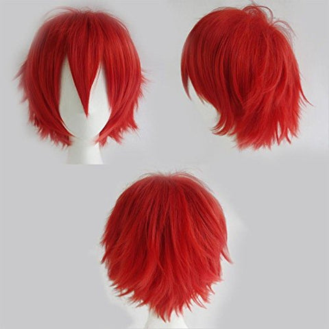 S-Noilite Unisex Cosplay Short Fluffy Straight Hair Wig Women Mens Rock Cartoon Anime Con Party Dress Wigs Red